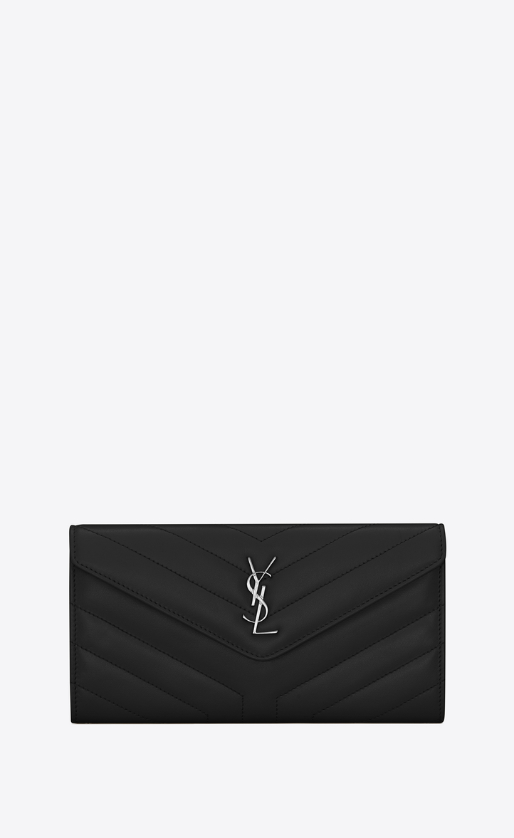 【Yves Saint Laurent】LARGE LOULOU WALLET WITH A FLAP IN SHINY BLACK LEATHER WITH