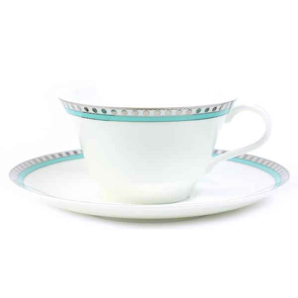 【Tiffany&Co.】 カップ ペアカップ プラチナ ブルー バンド カップアンドソーサー