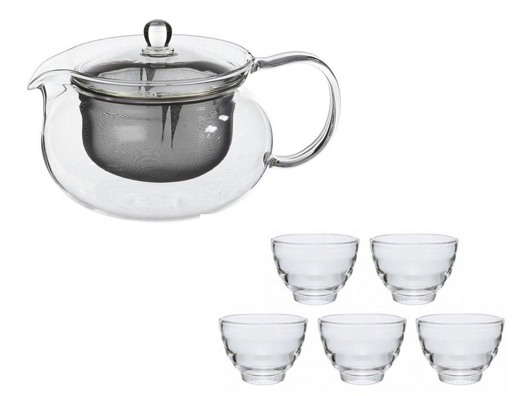 HARIO  茶茶 急須 丸 700ml & 耐熱 湯呑み 5客セット