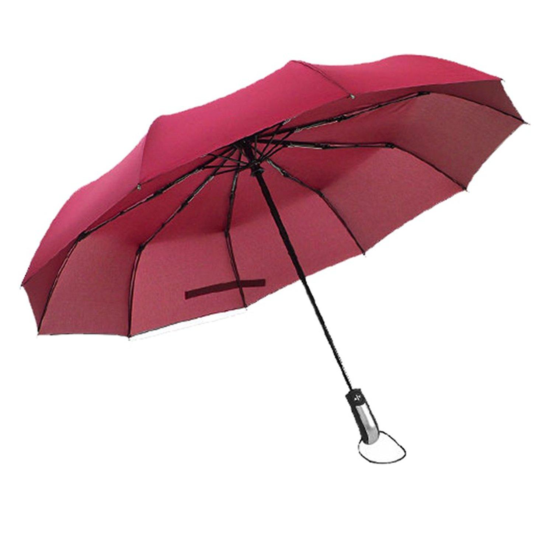 【MacShow】ワンタッチ自動開閉折り畳み傘(レッド)