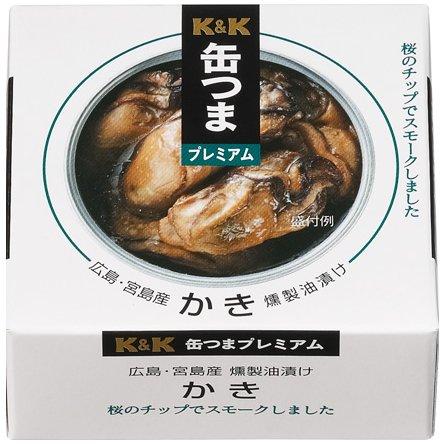【K&K】缶つまプレミアム 広島かき 燻製油漬け 60g × 3缶セット